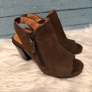 Gentle Souls Open Toe Brown Leather Booties